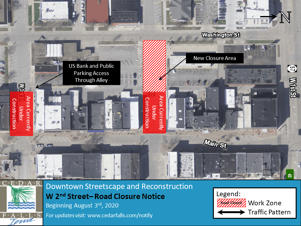 W 2nd Street Closure map