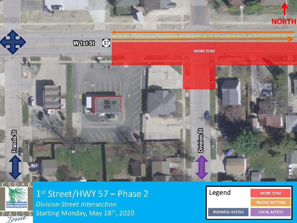 1st Street Phase 2 Closure map